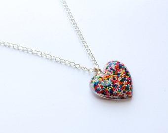 Heart Rainbow Sprinkles Necklace