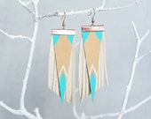 Aztec Tribal Geometric Genuine Leather Earrings/ Light Blue and Tan Earrings