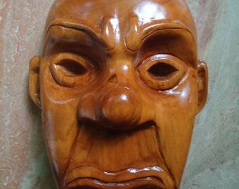 Joker Mask mask - Wood carving - Wooden Joker Mask - Hand carved wood sculpture - Cherry wood - Batman - Wall decor - Wood mask - Artwork