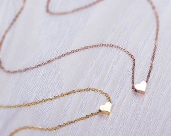"""Tiny heart necklace, Rose gold heart necklace, Gold heart necklace, Valentines, Anniversary gift, Bridesmaid gift, Love necklace, """"Iasion"""""""