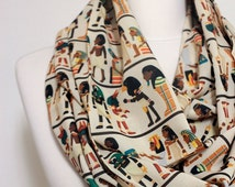 Antique Egyptian Pattern Infinity scarf, Circle scarf, Loop scarf, Scarves, Shawls, spring - fall - winter - summer fashion