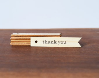 Set of 10 or 20 Thank You Wooden Hang Tags, Wedding Favour Thank You Tags, Timber Pennant Gift Tags