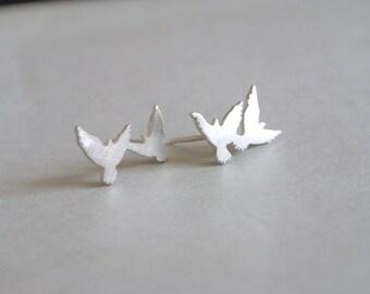 Silver Double Dove Stud Earring, bird earring, mismatched earring