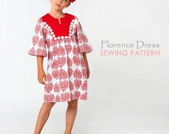 Childrens Sewing Pattern pdf, Girls Sewing Pattern PDF, Girls Dress Pattern, Girls Clothing Pattern, Tunic Pattern, FLORENCE