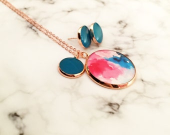 Pink and Teal Water Color Resin Copper Necklace and or Earrings