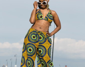 African Clothing: D A N I African Print Bikini Top made from Dutch Wax