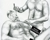 "PRINT of Original Art Work Pencil Drawing Gay Male Nude ""Shaving"""