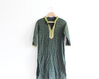Green Indian Batik Tunic Shirt Dress
