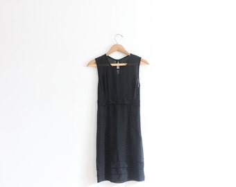 Black Sheer Chiffon 90s Mini Dress