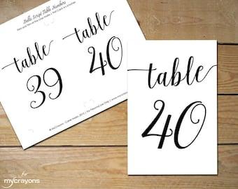 Printable Table Numbers 31-40, Bella Script  // Instant Download Black Table Numbers