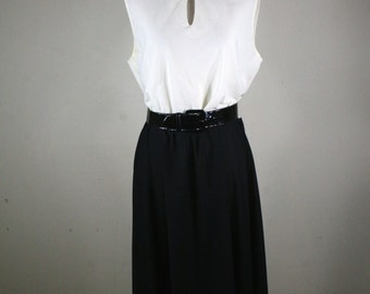 1970s Ruffled Cream and Black Dress with Patent Belt by Good Times