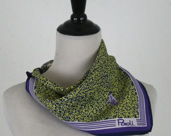 1970s Square Paoli Bird Scarf Purple and Lime Green
