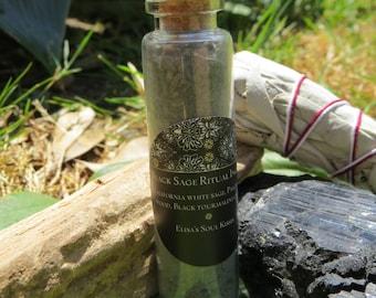 Black Sage handmade vibrational incense in cork glass bottle