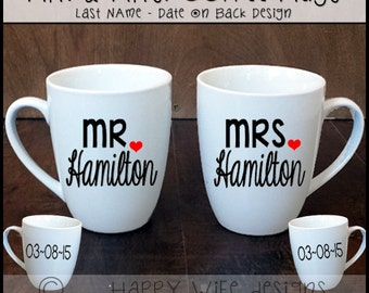 Mr and Mrs Coffee Mugs with Last Name and Date (Set of 2)