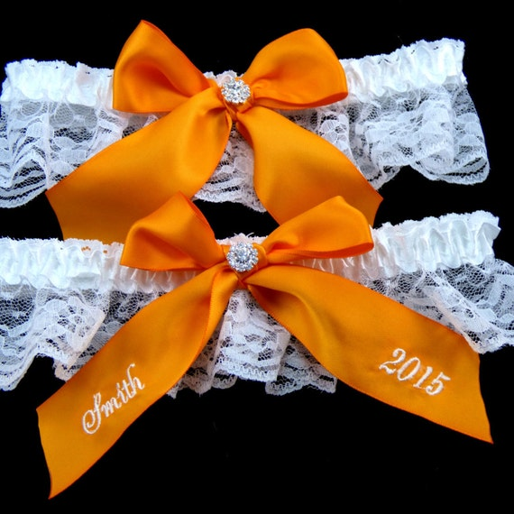 Tangerine Wedding Garter Bridal Garter Custom Garter