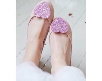 Shoe Clips Glitter Hearts, Big Light Pink glitter, bridal glitter shoe clips, rose wedding