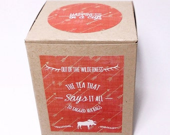 Into the Wilderness designed inspirational tagged teabags, teabag quotes, Stop worrying, Potential, Happiness, Nature, Adventure.