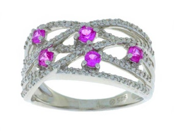 Pink Sapphire & Diamond Ring .925 Sterling Silver