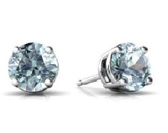 14Kt White Gold Natural Aquamarine Round Stud Earrings