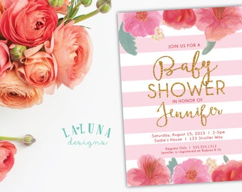 Floral Baby Shower Invitation, Watercolor Floral Invite, Stripe Invitation, Spring Baby Shower Invite, Girl Baby Shower, DIY Printable