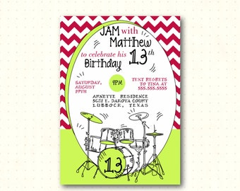 Teen Birthday Party Invitation, 10th, 11th, 12th, 13th, music, jamfest, boy, girl, neon green, drums, digital, printable invite K42853