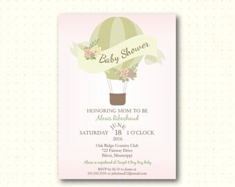 Baby Shower Invitation, girl, pink, hot air balloon, up up away, sip n see, sprinkle, gender reveal, modern, digital printable invite B50653