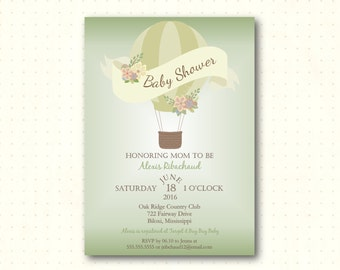 Baby Shower Invitation, balloon, gender neutral, green, sip n see, sprinkle, gender reveal, modern, digital printable invite B50655