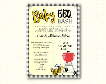 Baby Shower BBQ Invitation, couples baby shower, backyard shower, bbq, dad's shower, digital, printable invite B52451
