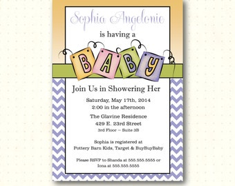 Baby Shower Invitation, chevron, gender neutral, sip and see, purple, yellow, pink, gray, digital, printable, baby blocks, invite B1451