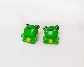 frog stud earrings - polymer clay