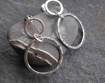 Silver hoop stud earrings, silver hoop studs, silver hoop earring, handmade hammered sterling silver jewelry by ARC Jewellery uk