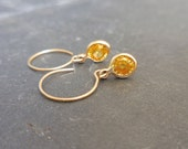 Yellow Sapphire Dangle Earrings - 14 kt Gold, Bezel Set, Rustic, September Birthstone, Simple, Bridesmaids, Stacking, Charm
