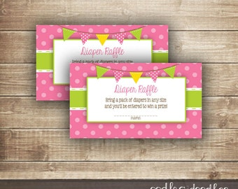 Diaper Raffle Tickets  / Pink & Lime Green / Baby Girl / Baby Shower Diaper Raffle Tickets - INSTANT DOWNLOAD - Printable