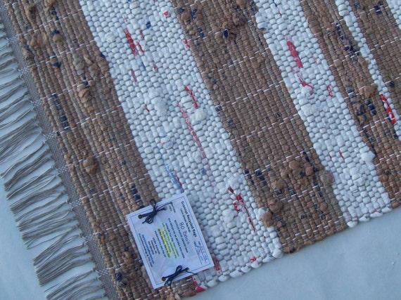 brown and white plastic bag rug camping rug loom woven. Black Bedroom Furniture Sets. Home Design Ideas