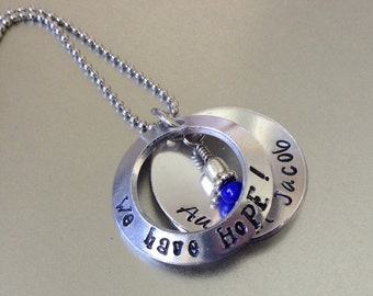 We have HoPE... Peek a boo faux locket... Holoprosencephaly... HPE... Hand Stamped, personalized necklace