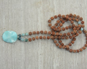 Amazonite Mermaid  Mala - Mediation Inspired Yoga Beads / mala beads BOHO chic