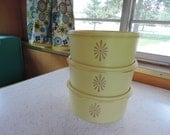 Retro Tupperware Yellow Kitchen Containers Vintage Kitchen Storage Retro Bowls With Covers Caravan Camper Airstream Kitchen Glamping
