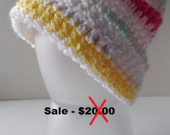 Baby Beanie - Baby Hat - Multi Bright Colors - Handmade Crochet - Reduced - Clearance - Ready to Ship
