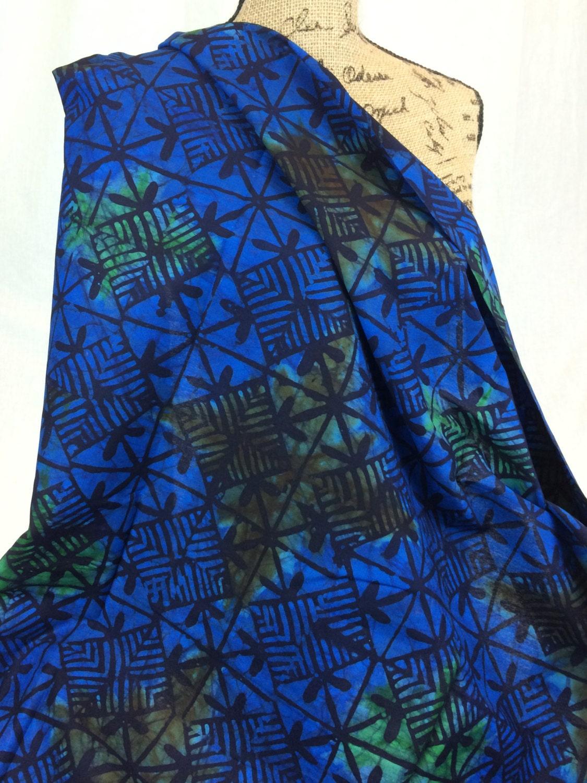 Made in KenyaAfrican Batik Print  FabricDark Blue Black