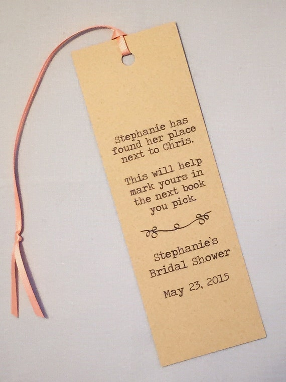 Literary Wedding Bookmark Program / Wedding Favor / Shower