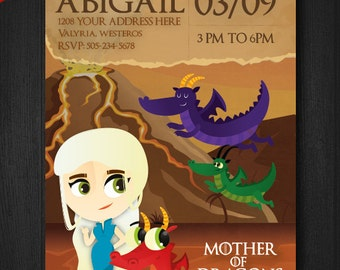 Game of thrones invitations, mother of dragons - Personalized