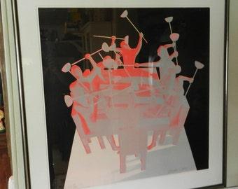 "SALE Mark Kostabi Signed Serigraph Trial Print of "" Upheaval"""