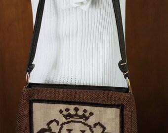 """Vintage Burlap and Needlepoint Monogram """"H"""" Shoulder Bag with Adjustable Strap"""