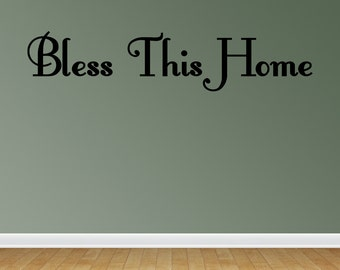 Bless This Home Vinyl Decal Sticker Wall Quote Art God (J682)