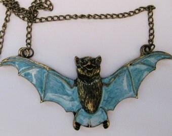 Bat Necklace Bronze Light Blue Bat Necklace