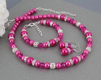 Hot Pink Necklace, Hot Pink Pearl Necklace Set, Hot Pink Bridesmaid Jewelry, Pearl Necklace, Bridesmaid Gift, Hot Pink Bracelet
