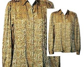 Vintage 70's Gold Blouse with Metallic Paisley Print Fabric - Size Medium
