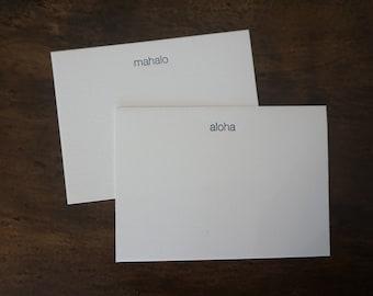Letterpress Mahalo or Aloha Note Cards - Set of 6