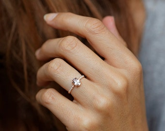 Modern engagement ring for young Single oval diamond engagement ring