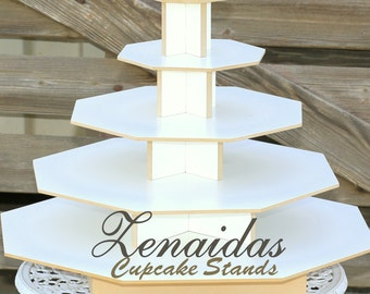 Donut Stand 5 Tier X Large Octagon White Melamine Cupcake Tower Birthday Stand Wedding Stand Display Stand